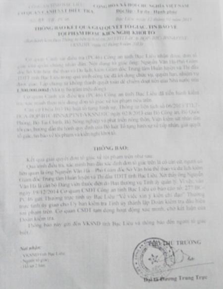 Cơ quan điều tra Công an tỉnh Bạc Liêu xác định đơn tố giác ông Nguyễn Văn Hà lập chứng từ khống để chiếm đoạt tiền Nhà nước trên 1,3 tỷ đồng là có căn cứ.