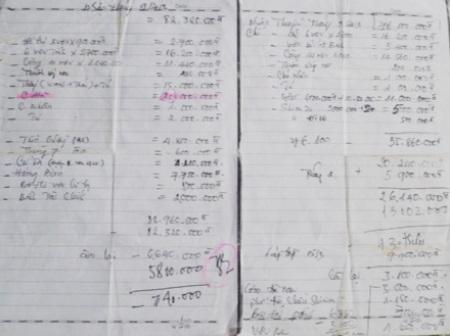 Tài liệu viết tay này thể hiện chú Hà nhận trên dưới 60 triệu đồng.