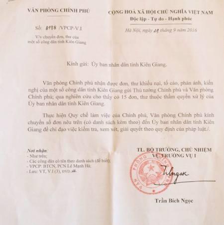 Văn phòng Chính phủ đề nghị UBND tỉnh Kiên Giang giải quyết khiếu nại của công dân - 3