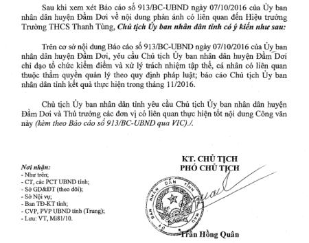 Công văn chỉ đạo của UBND tỉnh Cà Mau.