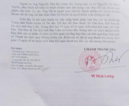 Thanh tra Nhà nước tỉnh Bạc Liêu kết luận, ông Nguyễn Văn Hà và một số cán bộ cấp dưới đã làm sai nguyên tắc tài chính, trái pháp luật nhưng chỉ đề nghị xử lý hành chính là chính.
