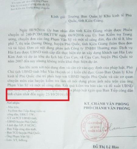 Văn bản chỉ đạo của UBND tỉnh Kiên Giang nêu rất rõ là kết quả kiểm tra báo cáo chậm nhất ngày 25/10/2016.
