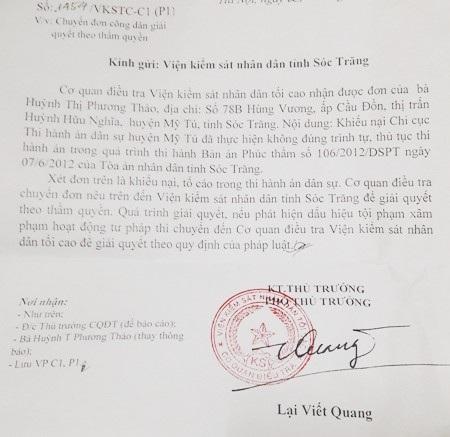 Công văn của Viện KSND Tối cao gửi Viện KSND tỉnh Sóc Trăng đề nghị xem xét, giải quyết vụ việc.