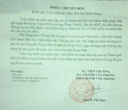 Văn bản của Viện KSND cấp cao tại TPHCM chuyển đơn phản ánh của người dân đến Viện KSND tỉnh Kiên Giang giải quyết vụ việc theo quy định.