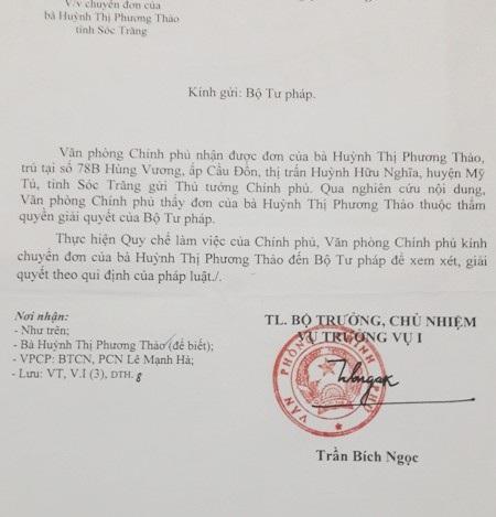 Công văn của Văn phòng Chính phủ chuyển đơn của người dân đến Bộ Tư pháp xem xét, giải quyết vụ việc.