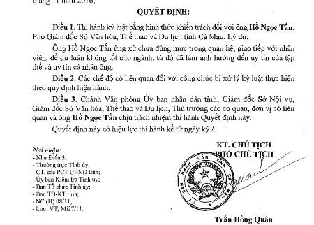 Quyết định kỷ luật ông Hồ Ngọc Tấn của UBND tỉnh Cà Mau.