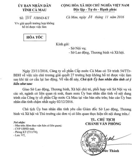 """Công văn """"hỏa tốc"""" lần thứ 2 của UBND tỉnh Cà Mau, chỉ đạo xung quanh vấn đề giải quyết việc làm của người lao động tại Cty Cấp nước."""