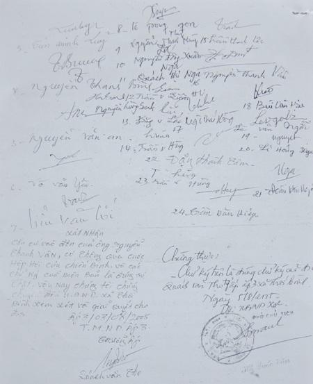 """Biên bản ngày 3/8/2005 có chữ ký xác nhận của chính quyền địa phương, nhưng cơ quan chức năng cho là """"soạn sẵn""""."""