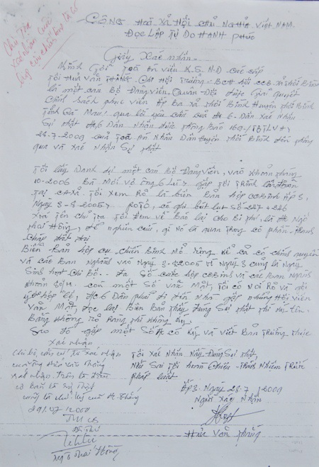 Ông Hứa Văn Thắng (Chi hội trưởng Hội Cựu chiến binh xã Thới Bình) cho rằng, cuộc họp ngày 3/8/2005 là có thật, chứ không như công văn của HĐND huyện Thới Bình.