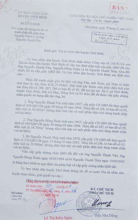 UBND huyện Thới Bình xác nhận, quy trình cấp đất cho các phía ông Gon là đúng quy định.