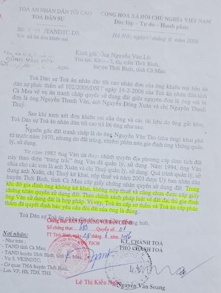 Trước đó, TAND Tối cao đã xác định, Tòa phúc thẩm TAND tỉnh Cà Mau bác yêu cầu của ông Nguyễn Văn Lù là đúng, nhưng sau đó lại bất ngờ hủy án.