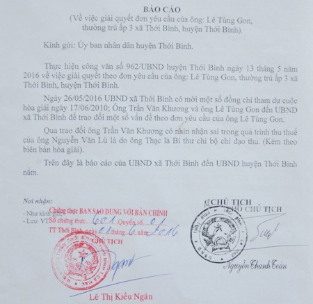"""Mới đây, khi làm việc với cơ quan chức năng, ông Trần Văn Khương (nguyên là ủy nhiệm thu) thừa nhận việc ông thu thuế """"hai đầu"""" là sai và thực hiện theo sự chỉ đạo của Bí thư chi bộ ấp."""