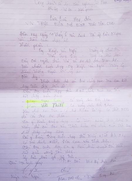 Biên bản này được cho là lập khống để đối phó vì có chữ ký của… người mù.