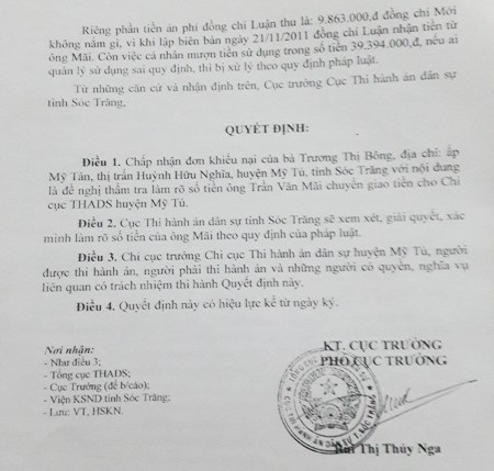 Cục thi hành án dân sự tỉnh Sóc Trăng có quyết định chấp nhận khiếu nại của bà Bông.