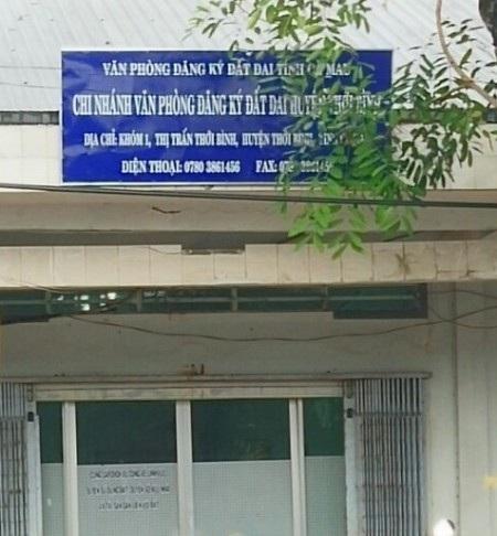 Chi nhánh Văn phòng đăng ký đất đai huyện Thới Bình, nơi vừa bị phát hiện chi không đúng thực tế gần 1 tỷ đồng.