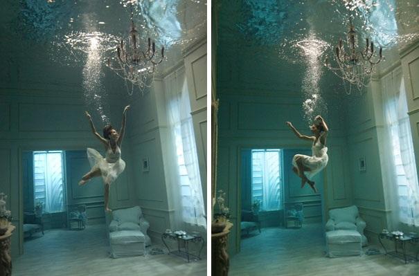 Bức hình nghệ thuật lơ lửng dưới nước…