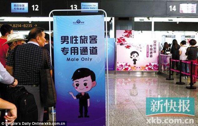 Sân bay quốc tế Bạch Vân mở lối đi kiểm tra an ninh riêng dành cho nam giới