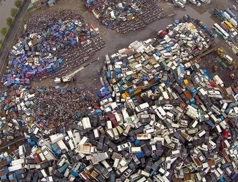 """""""Nghĩa trang"""" ô tô, xe máy, tại thành phố Hàng Châu nhìn từ trên cao"""