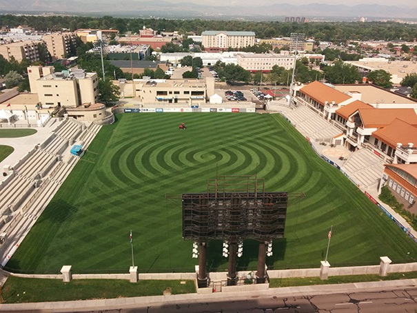Sân cỏ vừa được cắt hoàn hảo.