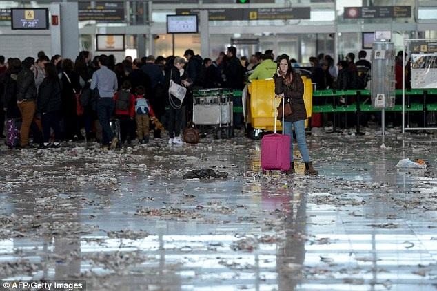 Sân bay tràn ngập rác thải ở Barcelona, Tây Ban Nha