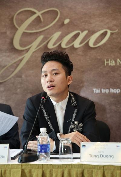 Tùng Dương lên tiếng về xích mích với Hà Trần tại buổi họp báo giới thiệu liveshow Giao thoa tại Hà Nội.