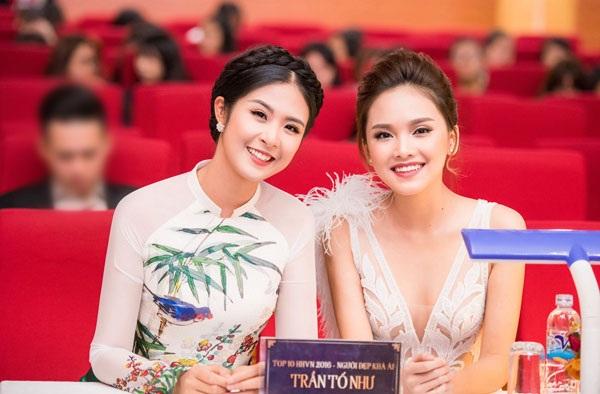Hoa hậu Ngọc Hân và người đẹp Tố Như tại sự kiện.