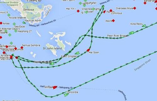 Toàn bộ lộ trình tàu Rolldock Storm di chuyển trong eo biển Singapore.