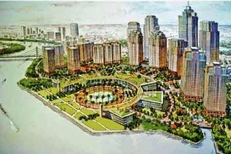 Phối cảnh toàn cảnh Quảng trường và Công viên bờ sông (ảnh theo Công Quang)