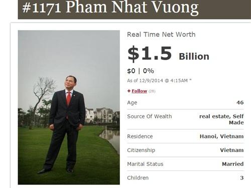 Thông tin của ông Vượng trên Forbes