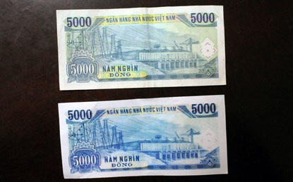 Biên bản xác nhận và thu giữ của ngân hàng BIDV đối với tờ tiền giả mệnh giá 5.000 đồng.