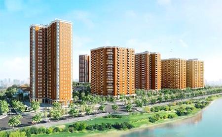 Phối cảnh tổng thể chung cư cao cấp CT2B thuộc Khu đô thị Nghĩa Đô.