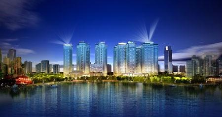 Phối ảnh toàn cảnh Goldmark City mặt nhìn từ hồ điều hòa 02ha đã được quy hoạch