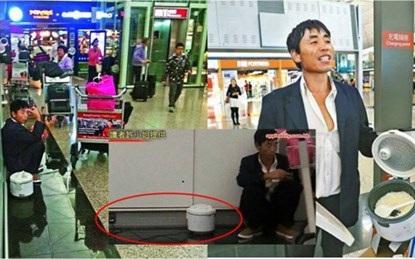 Hành khách Trung Quốc gây sốc khi nấu cơm ngay tại sân bay Hong Kong.