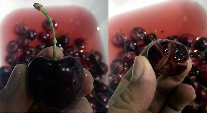 Quả cherry mua với giá 1,2 triệu đồng/kg về ngâm thấy phai đỏ màu nước như phẩm và nứt toác