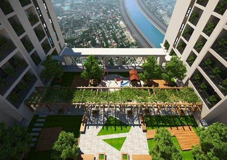 Khu sân vườn trên mái tầng là địa điểm lí tưởng giúp bạn thư giãn