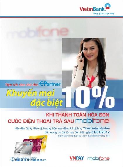 Giảm 10% khi thanh toán cước trả sau MobiFone qua VietinBank - 1