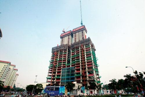 Tòa nhà Lotte vẫn triển khai thi công đều đặn