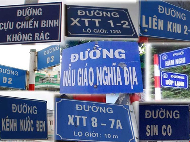 Tên đường được đặt tùy tiện, không theo nguyên tắc nào, thiếu tính thẩm mỹ... (ảnh PLTP)