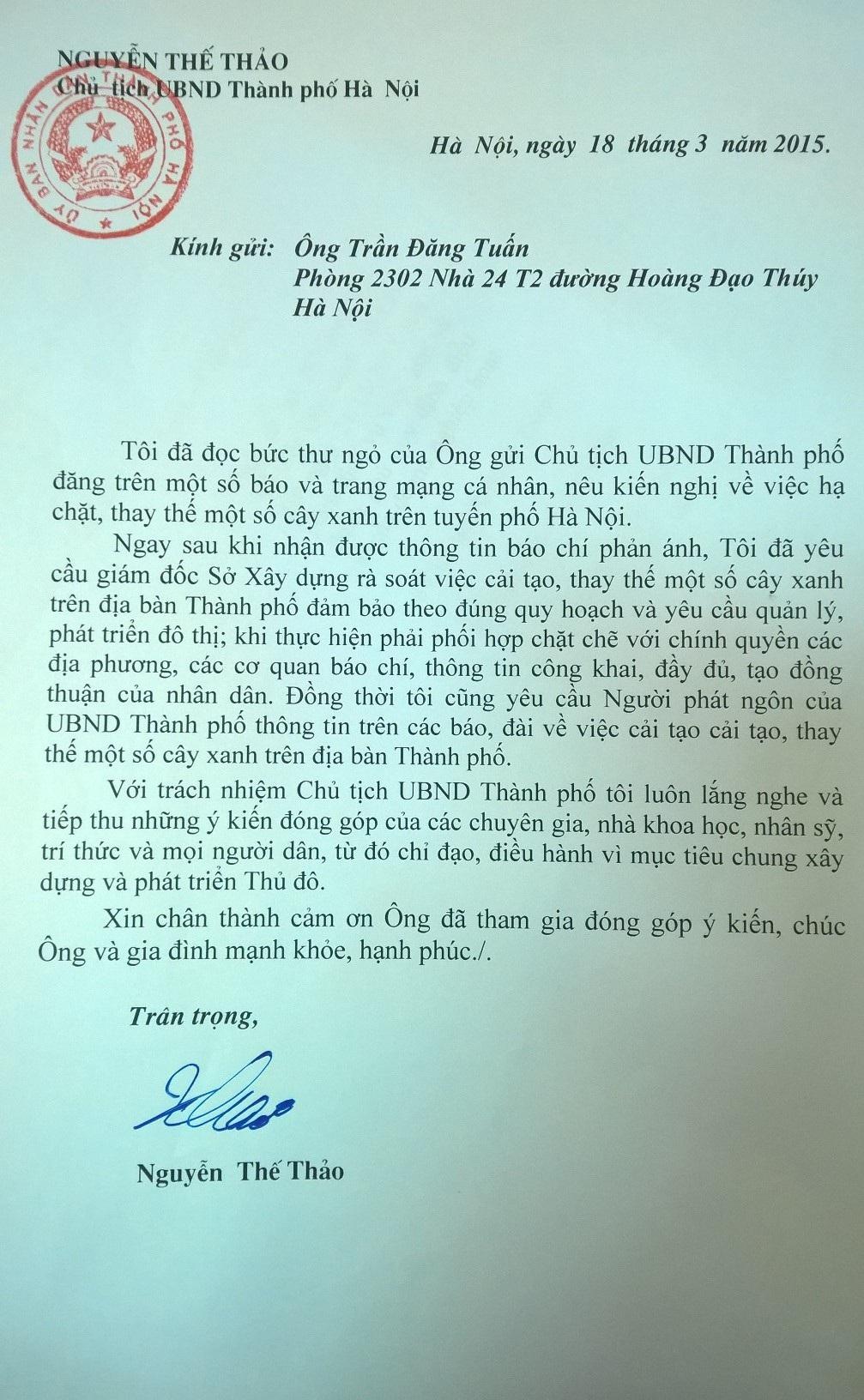 Bức thư của Chủ tịch UBND TP Hà Nội gửiông TrầnĐăng Tuấn.