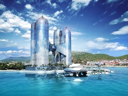 Phối cảnh cao ốc 65 tầng trên biển Nha Trang đang gây ra phản ứng của dư luận.