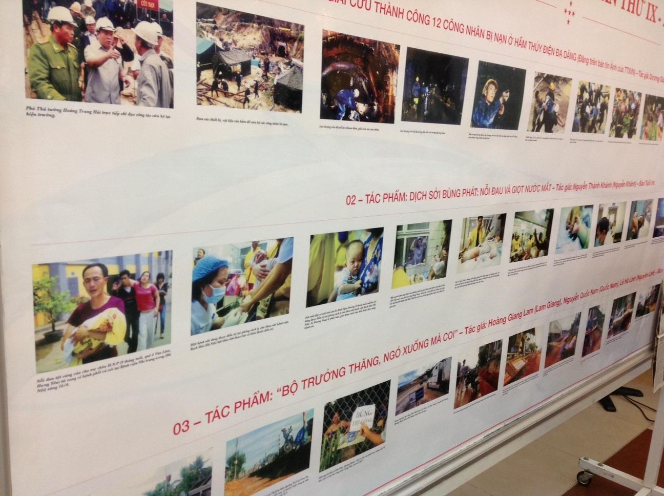 Một số tác phẩm ảnh báo chí lọt vào vòng chung khảo.