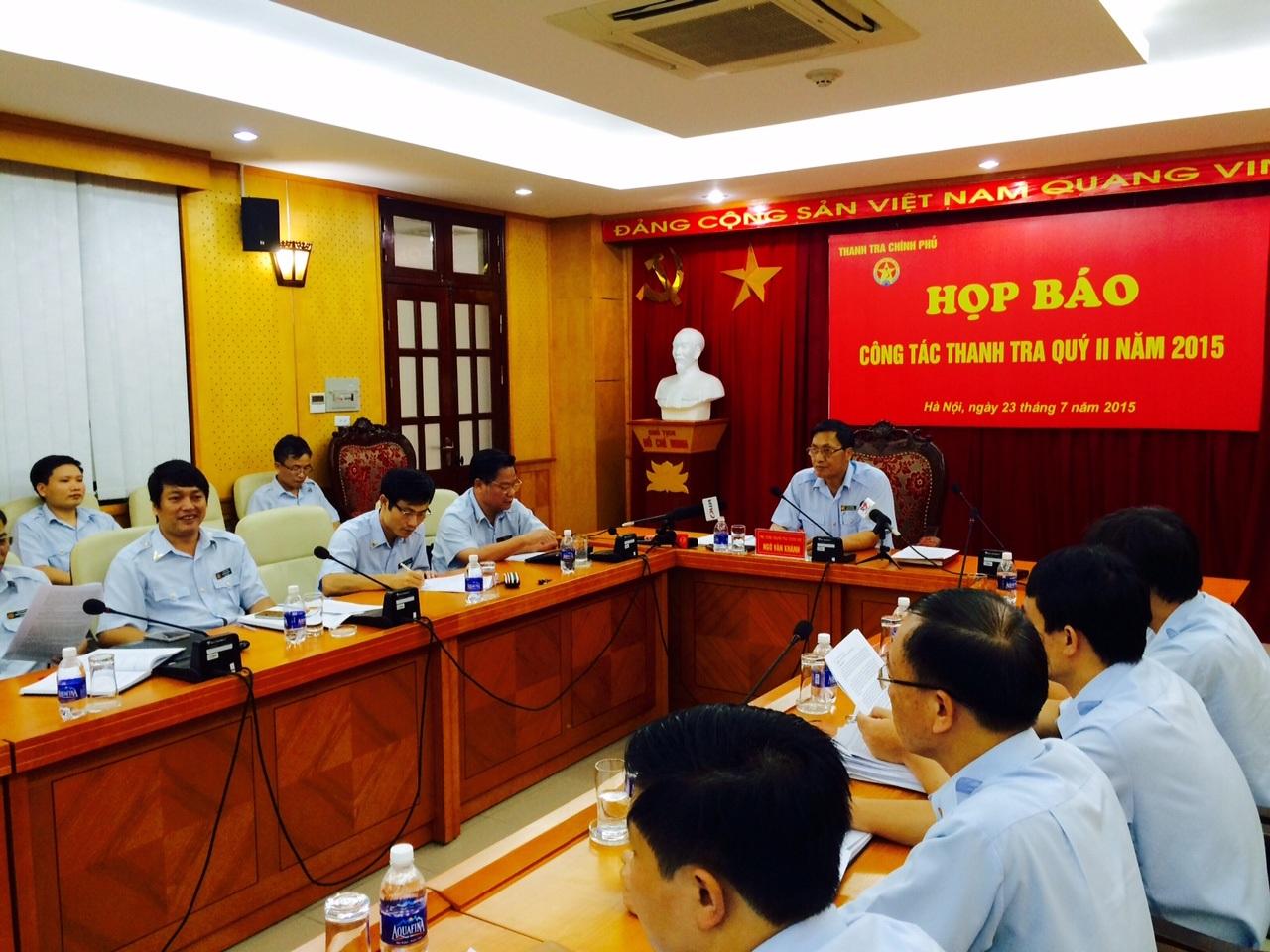 Quang cảnh buổi họp báo thường kỳ của Thanh tra Chính phủ sáng nay.