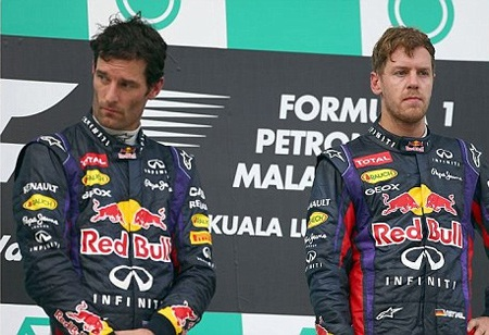 Webber và Vettel gượng gạo bên nhau trên podium