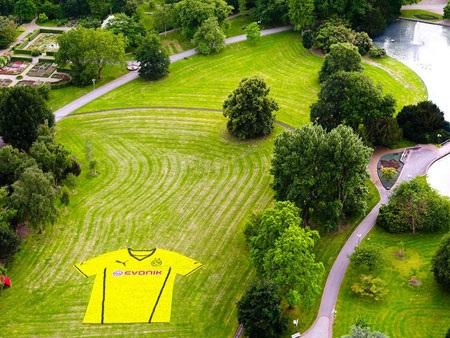 Chiếc áo đấu của Dortmund nhìn từ trên cao xuống