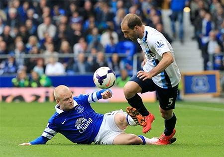 Lối chơi quyết liệt của Everton trong những phút đầu khiến Man City khốn khó