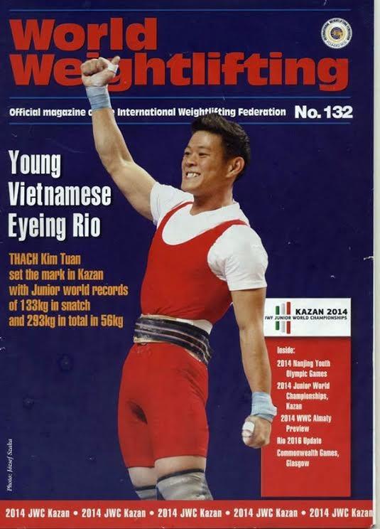 Lực sĩ Thạch Kim Tuấn lên bìa tạp chí Cử tạ thế giới