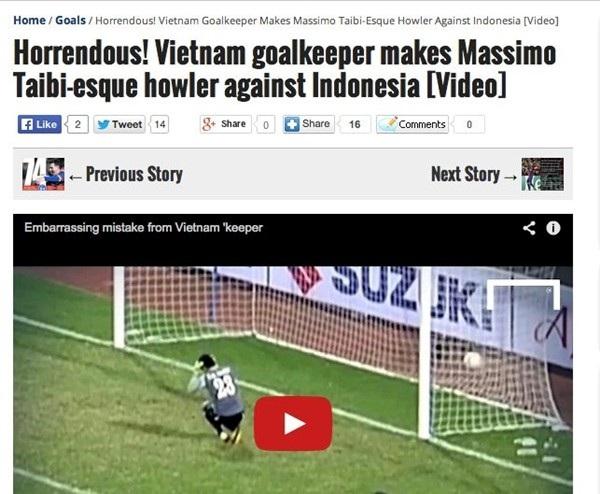 Sai lầm của thủ môn Nguyên Mạnh lên báo nước ngoài