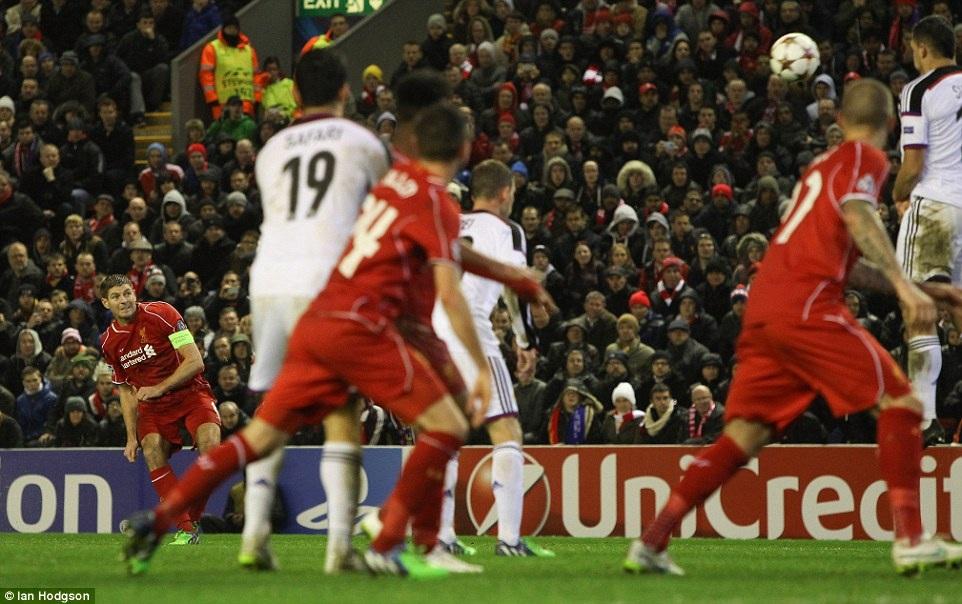 Bàn thắng của Gerrard ở phút 81 không giúp Liverpool đi tiếp ở Champions League