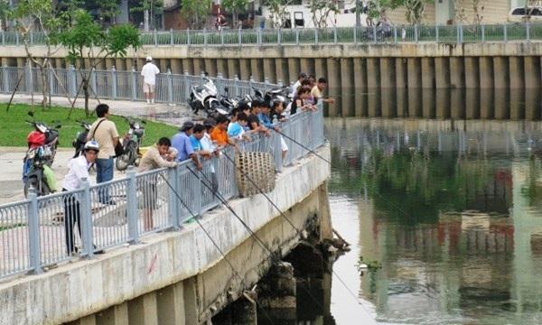 Buổi sáng và xế chiều là thời điểm thu hút nhiều cần thủ đi câu tại kênh Nhiêu Lộc và Tàu Hủ.