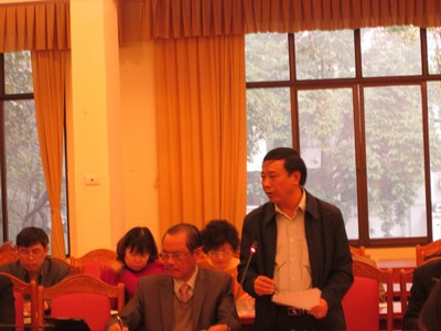 Đại biểu của tỉnh Vĩnh Phúc phát biểu tại hội nghị (Ảnh: T.N)